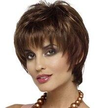 Женские короткие синтетические парики Омбре коричневого цвета с челкой для женщин Прическа фея косплей натуральный вид искусственные воло...