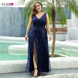 Plus Size Sequined Evening Dresses Ever Pretty A-Line V-Neck Side Split Embroidery Elegant Formal Evening Gowns Robe De Soiree