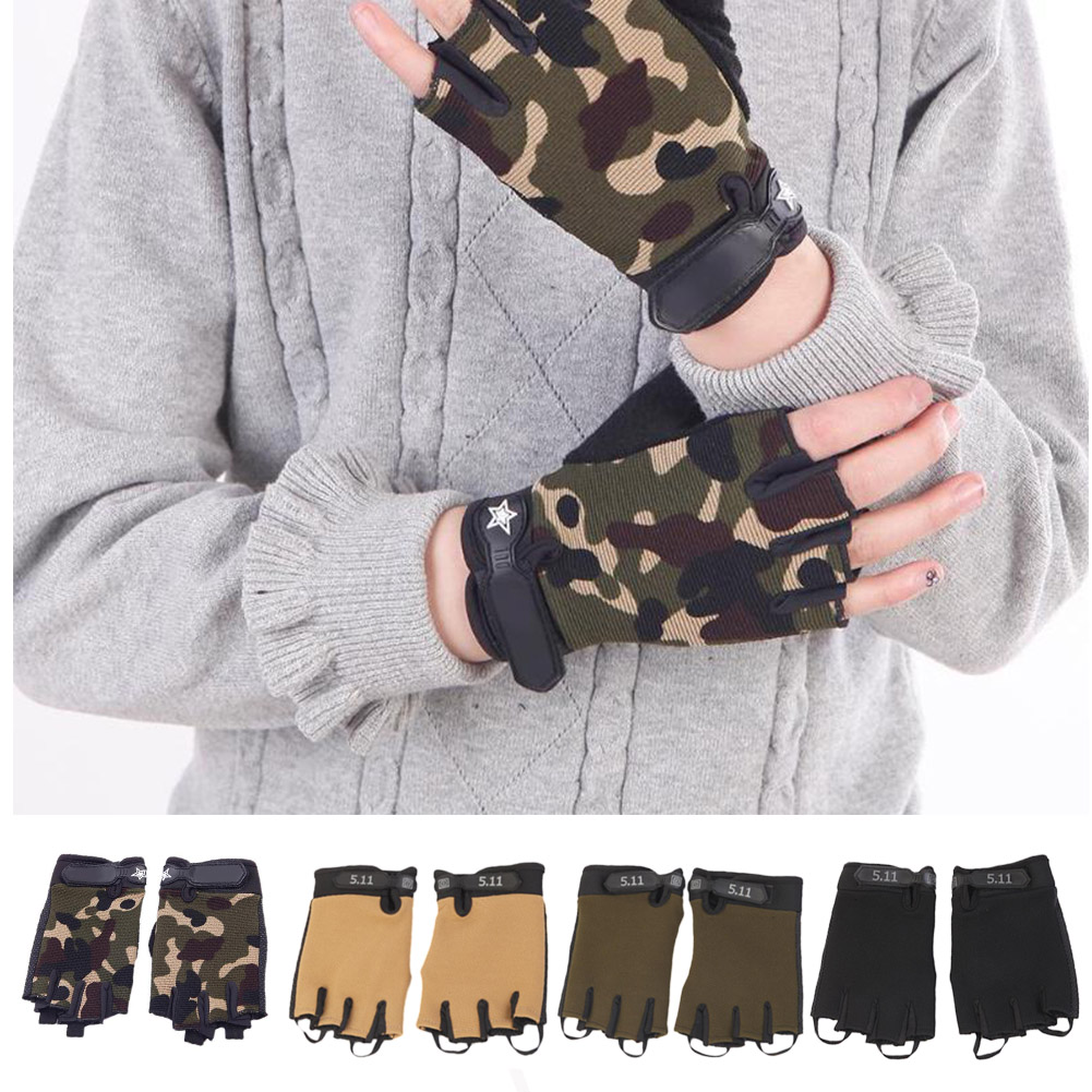 Anti-slip Anti-sweat Men Women Half Finger Gloves Breathable Anti-shock Sports Gloves Outdoor Hiking Riding Cycling Tactical
