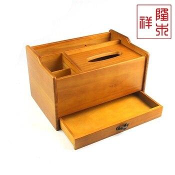 Exquisite Wooden Tissue Box, European Style Drawer Storage Multifunctional Box