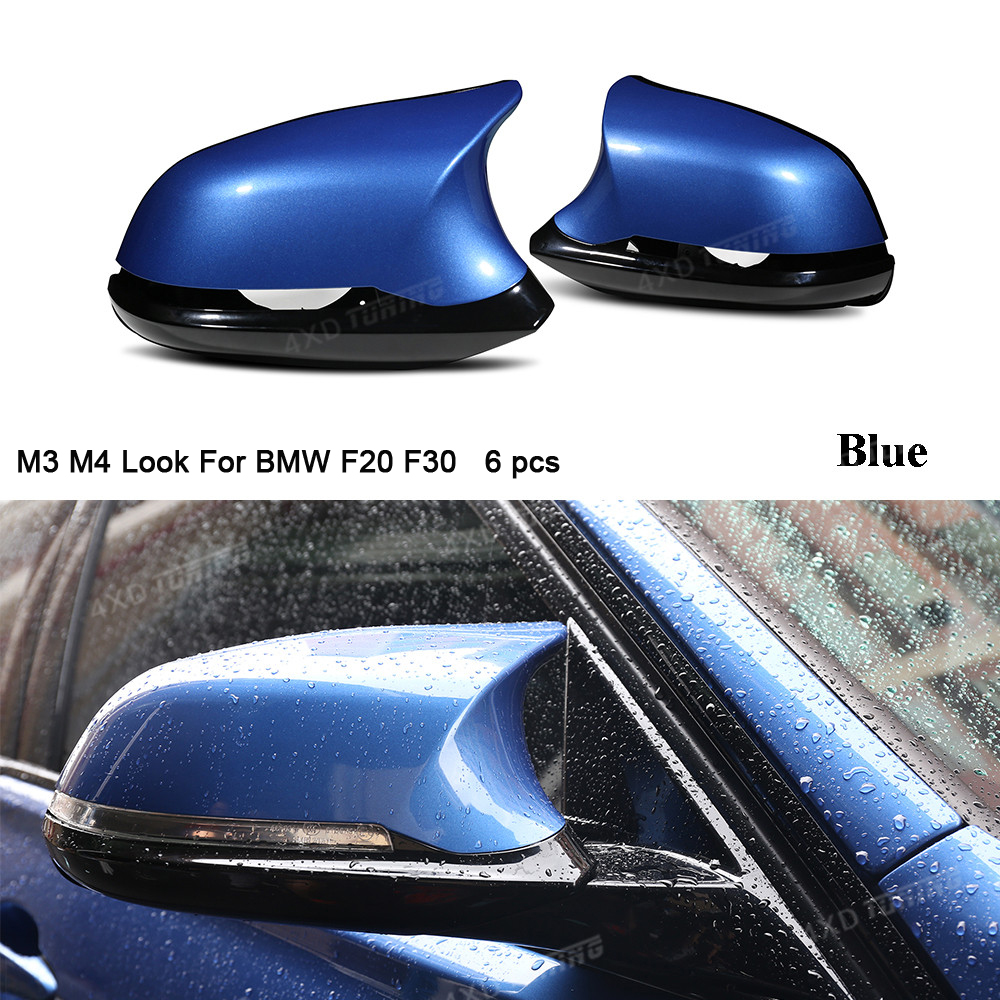 M3 M4 Look For <font><b>BMW</b></font> F20 X1E84 M2 F87 Mirror Cover 1 2 3 4 series F36 F22 F30 Rear View Carbon Look Mirror Cover 6 <font><b>Pcs</b></font> gloss black image