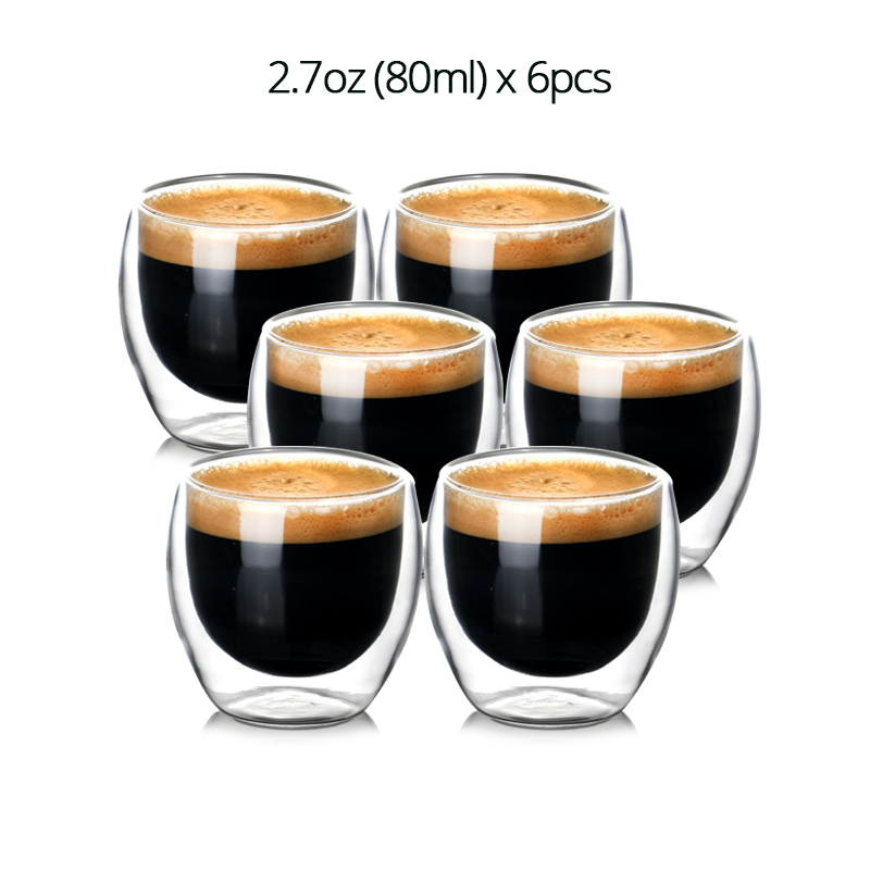 Set of 2/6pcs  Double Wall Insulated Heat Resistant Glass Coffee Cups for Drinking Tea,Latte,Espresso Mug 80ml/200ml/250ml/270ml