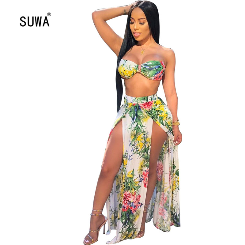 2020 New Design Floral Print 3 Piece Set Women Suit Fashion Beach Swimsuit Pool Party Sexy Lady Tracksuit Bikini Outfits