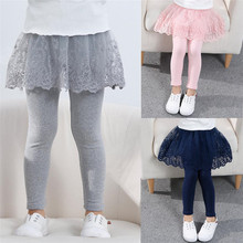 2020 Cotton Baby Girls Leggings Lace Princess Skirt-pants Spring Autumn Children Slim Skirt Trousers for 2-7 Years Kids Clothes cheap Sonkpuel Tights CN(Origin) Fits true to size take your normal size Solid LJH200804B pink black navy gray 2-8 year 5 size