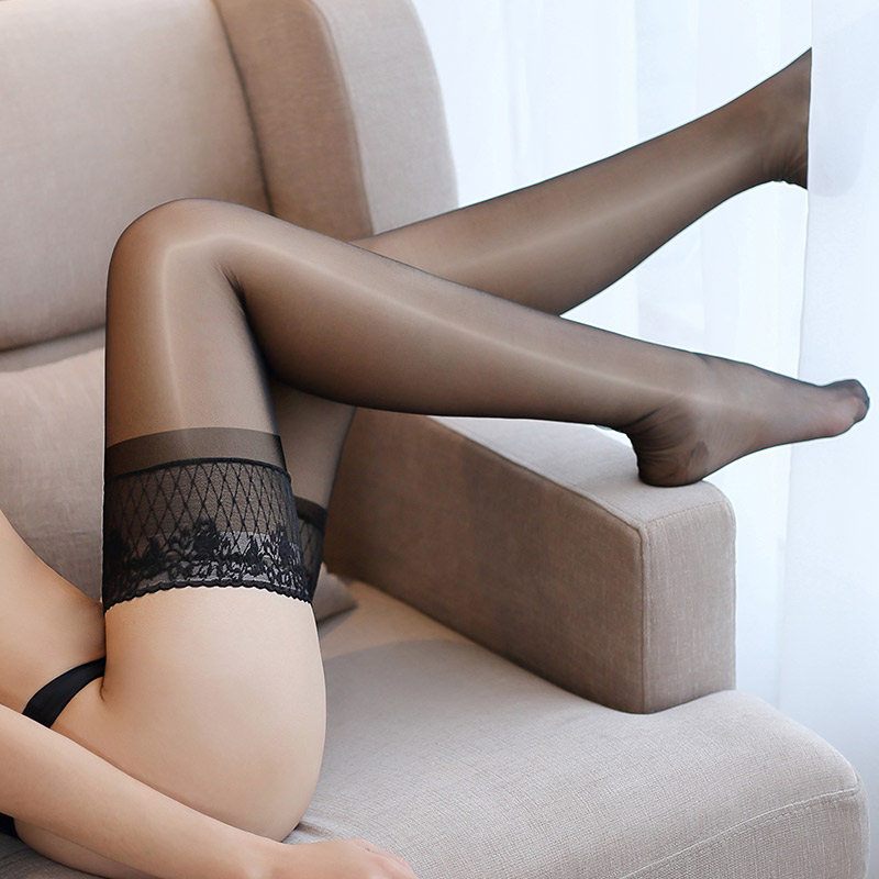 Oil Shine Sexy Stockings Women Lace Top Thigh High Stockings Ladies Silicone Stay Up Over Knee Long Medias