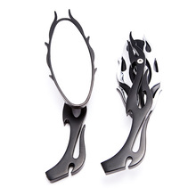 10 mm Universal motorcycles side mirror Black Retro Chrome  Square metal Modified Motorbike Racer Rearview