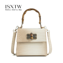 ISXTW Crocodile Leather Bags for Women 2019 Fashion Bamboo Lock Luxury Handbags Designer Classic Messenger Bag / A63