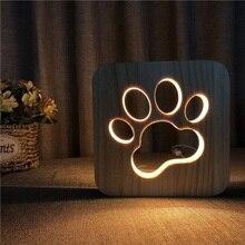 Led Wooden Dog Paw Wolf Head Lamp children's night light Kids Bedroom Decoration Warm Light  USB Night Light for Children Gift