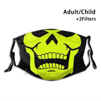 Glow Skely Mouth Design Anti Dust Filter Washable Face Mask Kids Heman Masters Of The Universe Skeletor Motu Skull image
