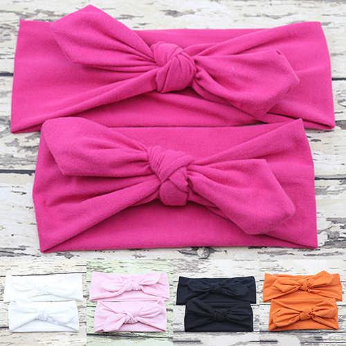 2 Pcs/Pair Kid Girls Mother Daughter Rabbit Ear Bow Headband Elastic Hair Band