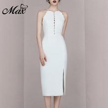 Max Spri 2019 New Fashion Halter Diamond Hollow Out Wavy Sleeveless Summer Sexy Elegant Women Slim Side Split Mid Calf Dress