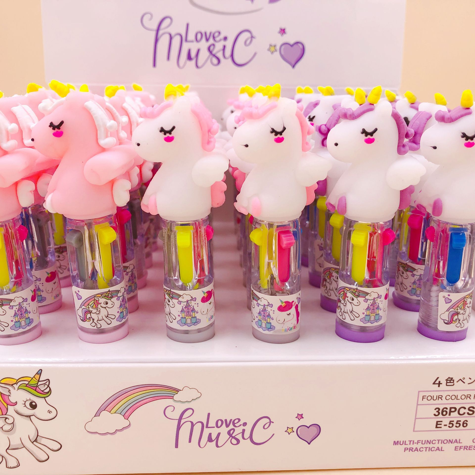 3 Pcs/lot Silicone Unicorn Mini 4 Colors Ballpoint Pen School Office Supply Gift Stationery Papelaria Escolar