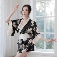 European and American summer new plus size sexy lingerie printing Japanese sexy kimono uniform set