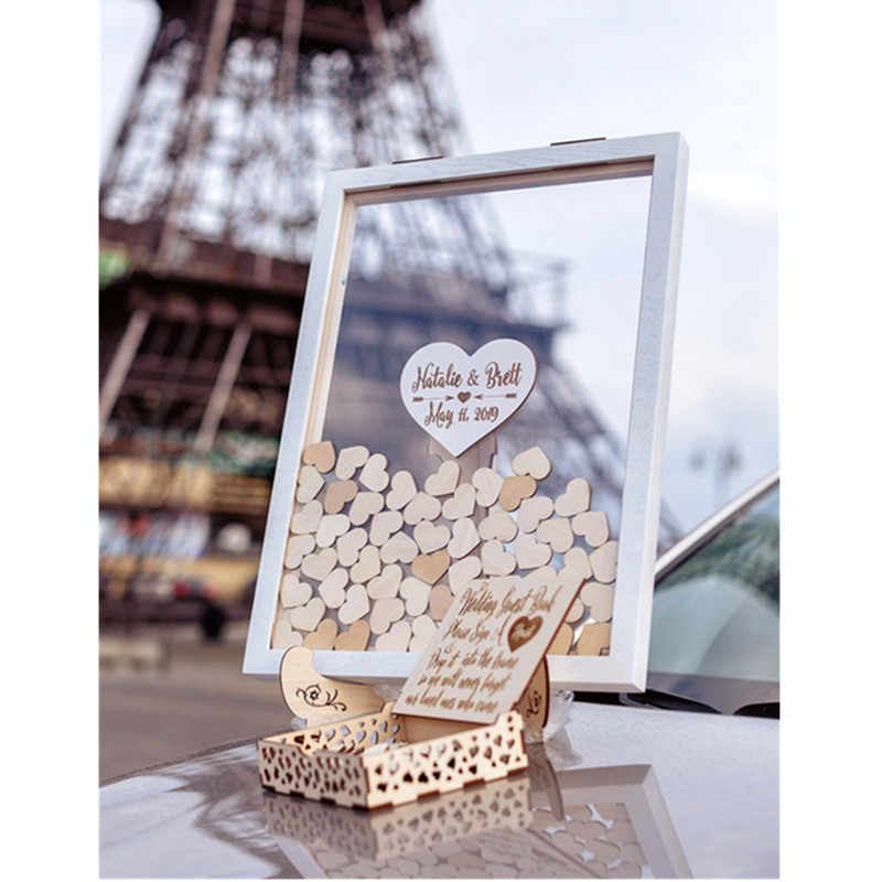 Engraved Wedding Guest Book Drop Box,3d Guestbook Hearts Wedding Guest Book Alternative,Customized Wood Wedding Guest Book Drop Box