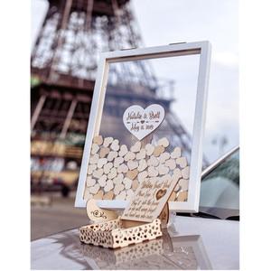 Personalize a caixa de presente do casamento do quadro do livro de visitas do casamento da madeira dos corações