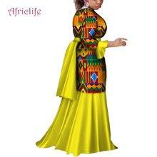 2019 African Dresses for Women Fashion Ankara Flare Sleeve Party Wedding Dress Dashiki Print Long WY4103