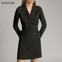 2020 Autumn Black Long Suit Blazer Women Double Breasted Sashes Jacket Coat Female Outwear Elegant Office Lady Blazers Feminino