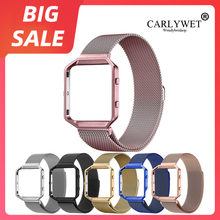 CARLYWET Top Milanese Steel Bracelet Wrist Black Watch Band Magnetic Closure with Case Metal Frame For Fitbit Blaze 23 watch