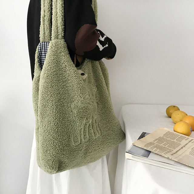 Women's Kawaii Lamb Fabric Shoulder Bag Handbag Tote Large Capacity Embroidery Shopper Bags Cute Bag for Girls New Design 4