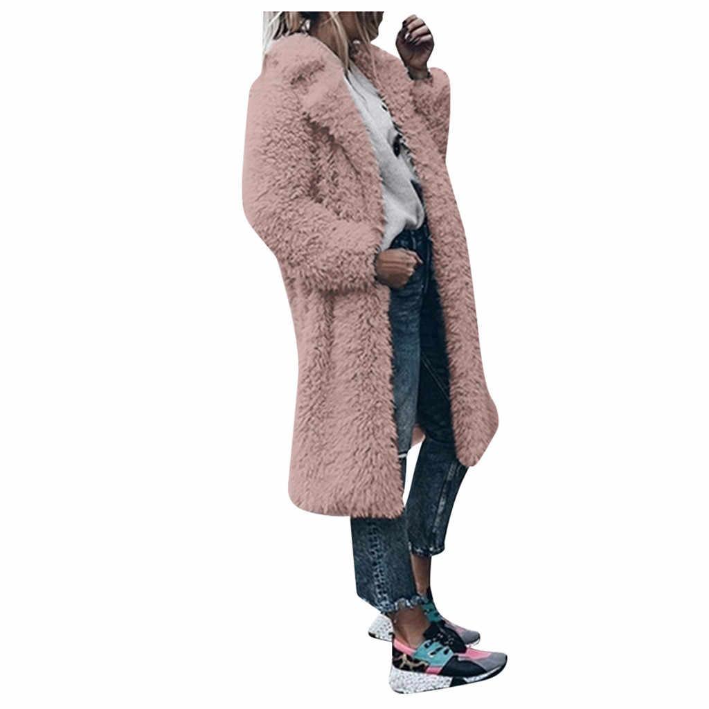 Élégant longue fausse fourrure manteau femmes 2019 automne hiver chaud artificiel laine pardessus femme en peluche pardessus décontracté Teddy Outwear