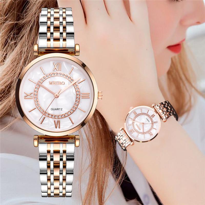 Relojes de mujer de primera marca de lujo 2020 de moda de diamantes relojes de pulsera de mujer de acero inoxidable con correa de malla de plata reloj de cuarzo femenino Nuevos relojes NAIDU de oro rosa para mujer, relojes de pulsera para mujer, reloj de pulsera de cuarzo para mujer, reloj de pulsera informal para mujer kol saati
