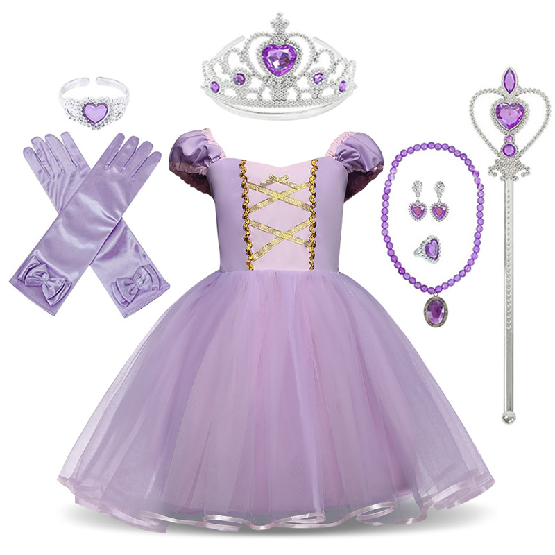 Little Girls Rapunzel Dress Children Fantasy Cosplay Costume with Ribbons Kids Halloween Party Clothes Sofia Princess Dresses(China)