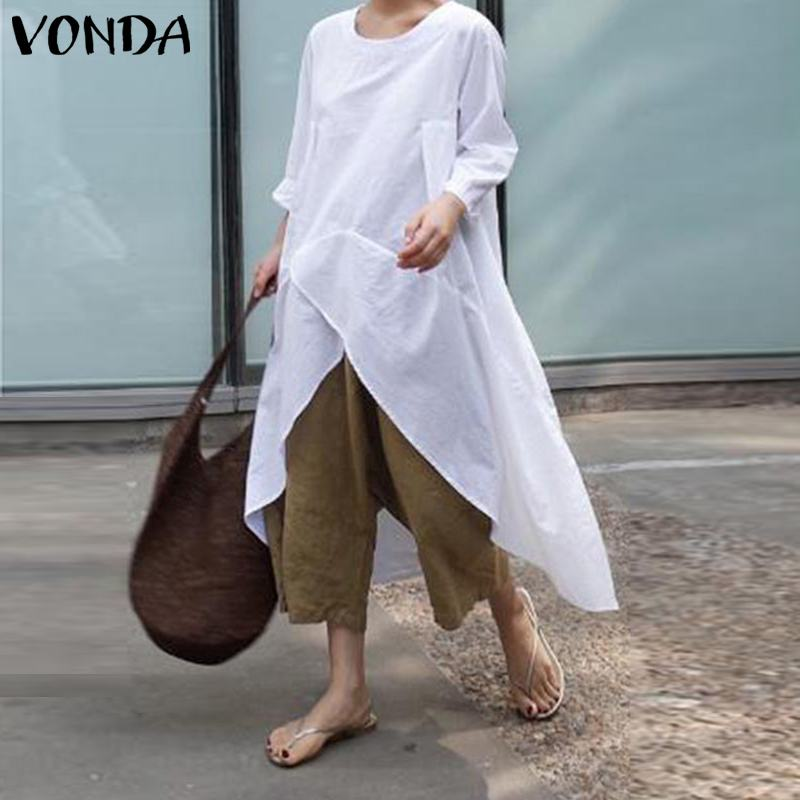 White Blouse And Shirts VONDA Autumn Long Sleeve Tops Casual Loose O Neck Asymmetrical Tunic Shirts Plus Size Blusas Femininas