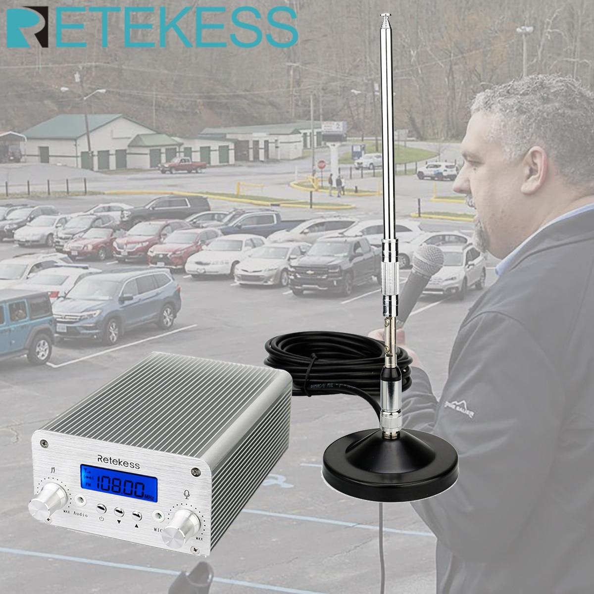 Retekess TR502 For Drive-in Church 15W FM Transmitter Wireless Broadcast Stereo Station Long Range Transmitter Drive-in Cinemas