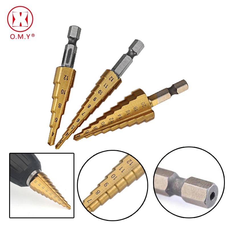 3pcs 4241 HSS Metric 1/4 Hex Shank Titanium Coated Step Drill Bit Cutting Tool Smoother Drill Bit Set