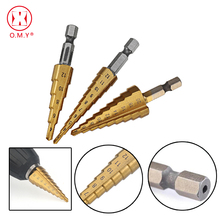 цена на 3pcs 4241 HSS Metric 1/4 Hex Shank Titanium Coated Step Drill Bit Cutting Tool Smoother Drill Bit Set