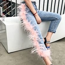 Jeans Female Pants Patchwork Women Tassels High-Waist New-Fashion Broken Fur LANMREM