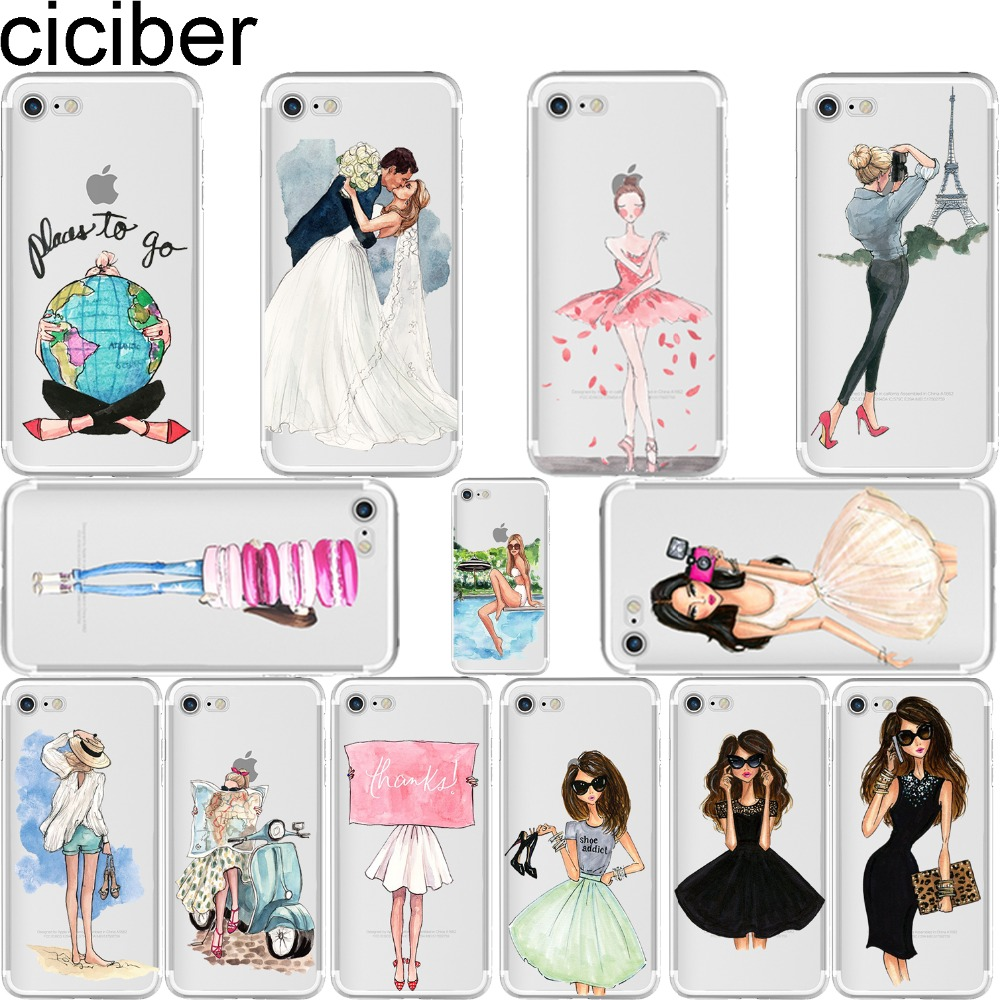 ciciber Luxury Fashion Travel Beautiful shopping Girl Design fundas de teléfono suaves silison para iPhone 6 6S 7 8 Plus 5S SE X