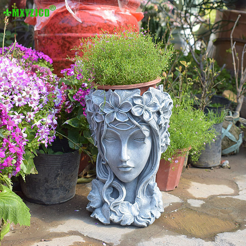 Greek Goddess Head Bonsai Succulent Flower Pots Desktop Flower Arrangement Container Handmade Art Decorations