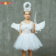Guardian Angel Kids Halloween Costume White Feather Girls Tutu Dress with Wings & Halo Christmas Nativity Gabriel Clothes