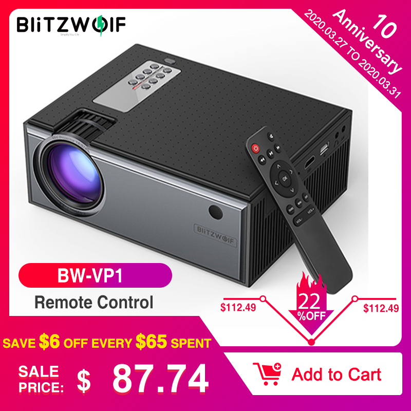 Blitzwolf BW-VP1 LCD Projector 2800 Lumens Support 1080P Input Multiple Ports Portable Smart Home Theater With Remote Control