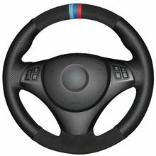 yuji hong top layer genuine cow leather car steering wheel covers case for bmw 320i m135i 2013 320d 335i 328i f20 f30 Black Leather Suede Car Steering Wheel Cover for BMW E90 320i 325i 330i 335i E87
