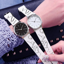 цены Couple watches ins Harajuku style men and women silicone strap quartz watch casual fashion female student trend couple watch