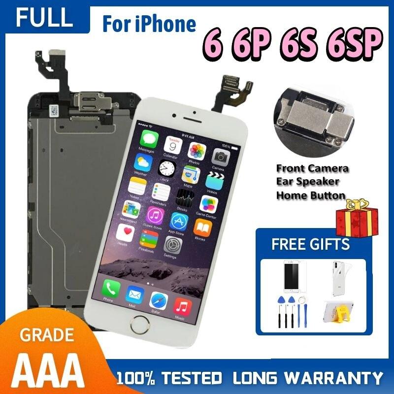 Полный комплект в сборе, ЖК-дисплей для iPhone 6, 6S, 6P, 6SP, ЖК-дисплей, сенсорный экран, дигитайзер, замена, 6, 6S Plus, экран, Главная Кнопка, камера