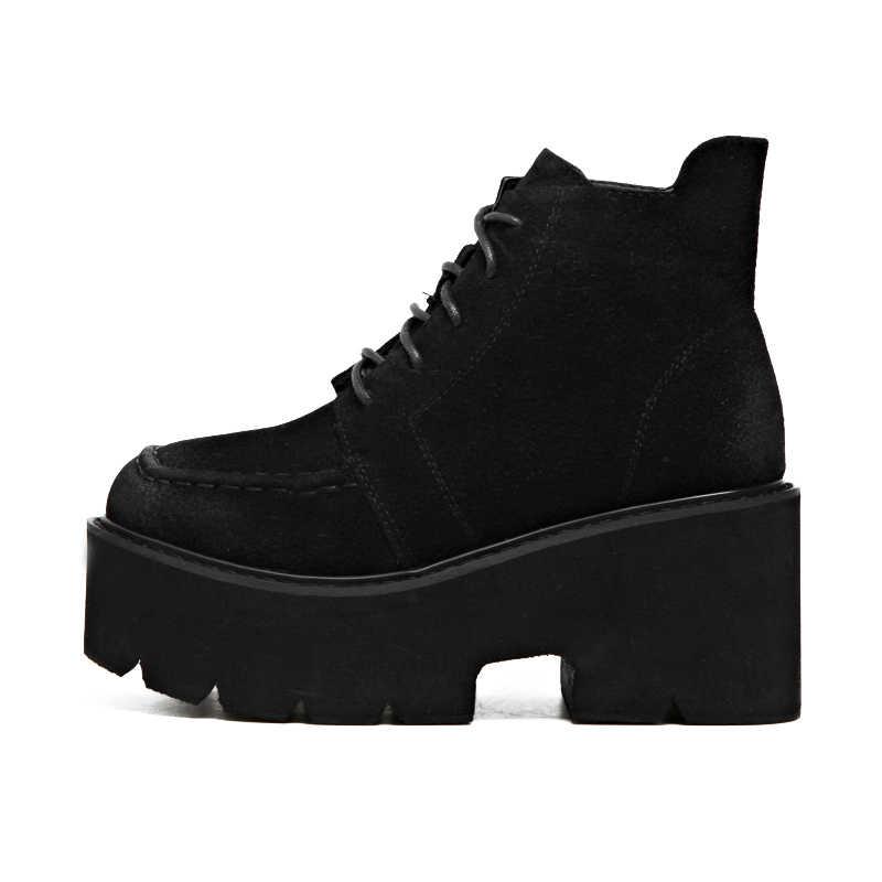 GBHHYNLH Vrouw Kant Herfst Laarzen Vrouwen Dames Chunky Wedge Platform Zwarte Enkellaarsjes Punk Goth womens casual laarzen LJA847