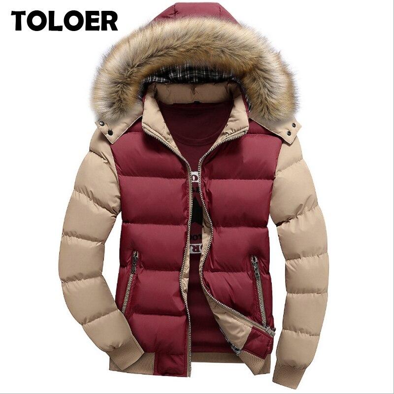 Зимнее пальто с меховым воротником и капюшоном для мужчин, новинка 2020, хлопковая куртка, уплотненные теплые парки из холодного флиса, мужские повседневные Брендовые пальто Парки      АлиЭкспресс
