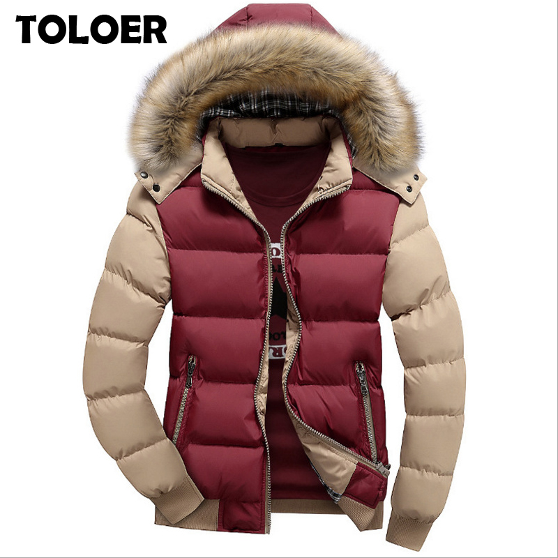 Winter Coat Jacket Parkas Fur-Collar Cold Warm Mens Brand Hooded Fleece Thickening Casual title=