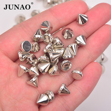 JUNAO 500pcs 8mm Silver Gold Color Spike Studs Decoration Ri