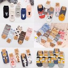 5 Pair Women Sock animal Stereo ear girl ankle Spring Summer Cartoon Female Cotton Invisible Japanese Cute Animal