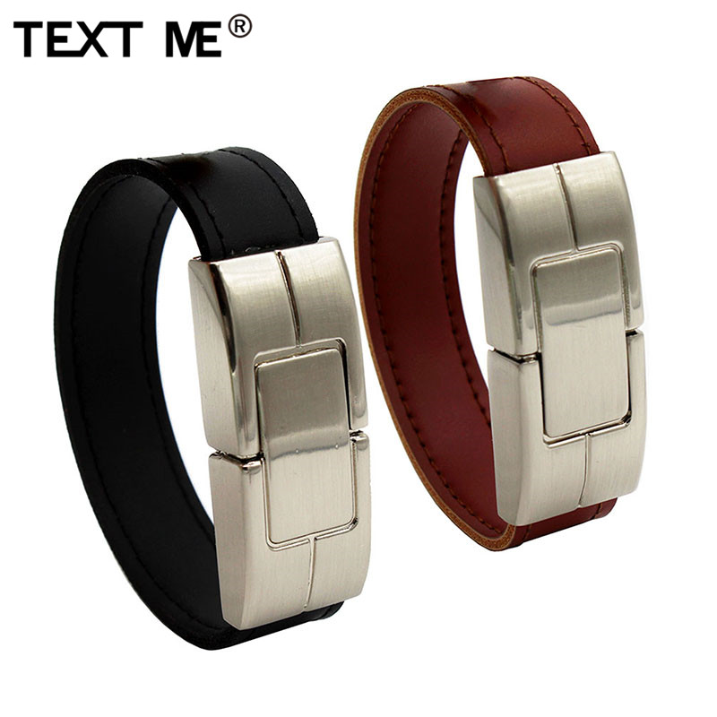 TEXT ME USB Flash Drive 64gb Leather Metal Keyring Pendrive Creativo 32gb 16gb 8gb 4gb Usb2.0 Wrist Band