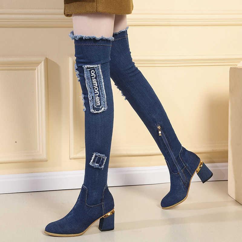 Ayakkabı kadın rahat püskül Jeans kesip uzun Botas Mujer bayan Denim çizmeler diz üzerinde sivri burun kalın yüksek topuklu