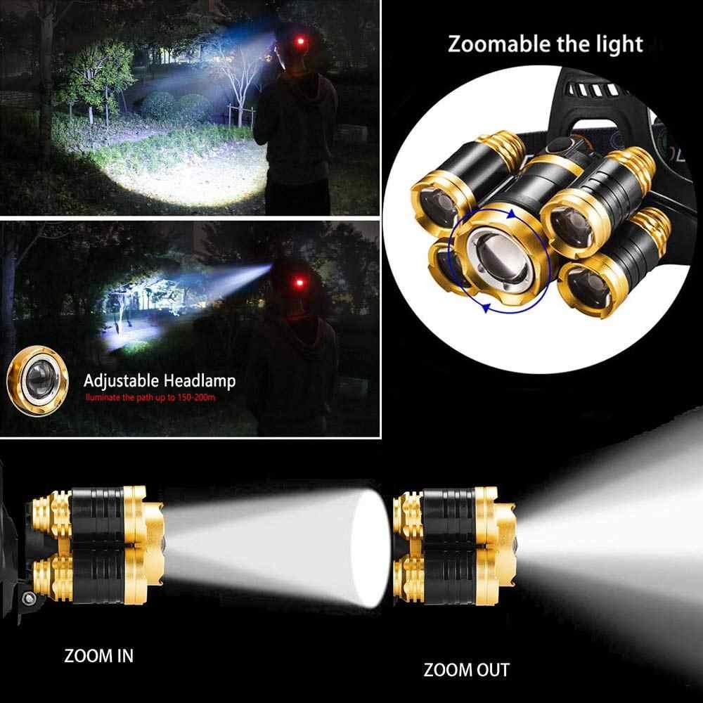 Светодиодный налобный фонарь с датчиком и зумом, 4 режима, водонепроницаемый налобный светильник 5 светодиодный T6 налобный фонарь, фонарь, налобный светильник 18650 для рыбалки 91