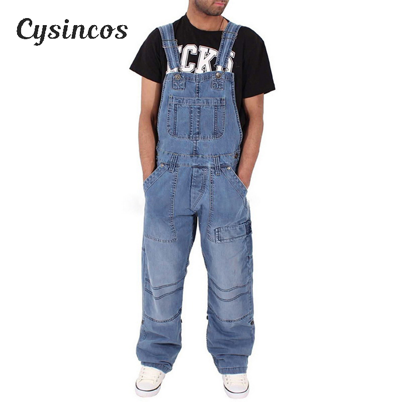 CYSINCOS Men's Ripped Jeans Fashion Men's Ripped Jeans Jumpsuits Distressed Denim Bib Overalls For Man Suspender Pants