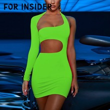 For Insider Sexy hollow out halter bodycon dress Women fluorescent green one shoulder black Backless party club sexy
