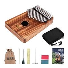LINGTING K17Y 17-key Portable Thumb Piano Kalimba Mbira Sandalwood Solid Wood with Storage Bag Music Book Stickers Tuning Hammer