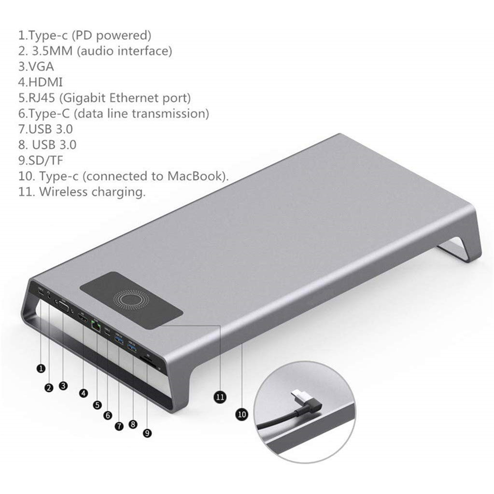 USB C TO HDMI VGA 11 In 1 Multi function Dock For MacbookHUB Card Reader With Wireless Charging - 5
